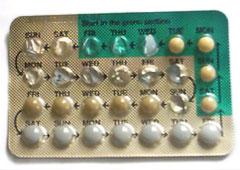 Presentación habitual de la píldora anticonceptiva (Wikimedia commons)